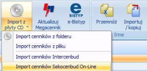 Automatyczny import zainstalowanych cenników Sekocenbud On-Line